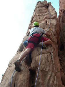 However, I rapped down the left side, thus failing to properly set the top-rope belay for the second. So, using another rope, Ben here basically re-led the route - with the first rope still in place if he needed it and with the pro already placed.