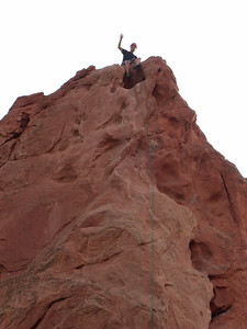 This route on Red Twin Spire is called Potholes, and it's rated at 5.7 with two stars!  Pretty impressive.