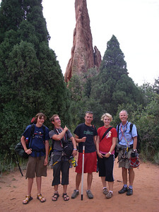 Five very happy climber-dudes back on the ground in front of the tower. L-R: Jake, Craig, Ben, Laura and Bill. We all hope to connect again quite soon for a gnarly rafting trip.  Belay on!