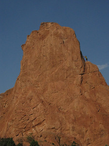 Yep - we won't be first. .. He's setting up anchor at step, ending the first pitch. The second pitch is much shorter - and many climbers do the route a longer single pitch.