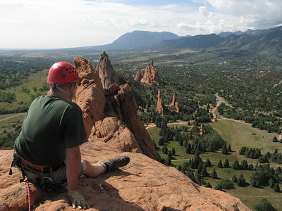 We are on top of Garden of the Gods - above all the tourist ants and close to Heaven. Cheyenne Mtn in distance.