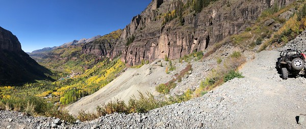 Panoramic - Telluride at distant end of the valley.