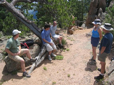 Lunch atop Rocky Mtn (9250') - just below large rock.