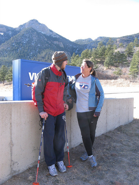OK, Visitors Center sign with Eagle Pk looming behind [shot after ascent]. Kevin & Elizabeth starting the New Year right!