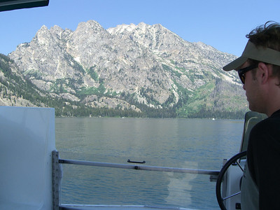 OK, taking the little ferry across Jenny Lake. Heading to Hidden Falls, up Cascade Cyn on the left.