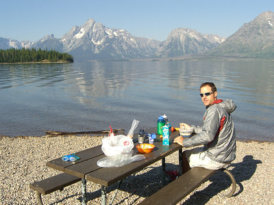At last, our potluck breakfast at Jackson Lake; Mt. Moran in background.