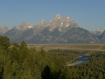 Cruising the Teton Valley.  This is the classic shot of the Tetons from the Snake River Overlook.  Picture would look better with clouds, though. Friday would be our reconn/rest day.