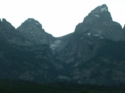 In fading light, the saddle between the Grand Teton on the right and the Middle Teton on the left.  In two nights we'll be camping on this saddle! It's referred to as the Lower Saddle, as the Upper Saddle is closer to the GT summit.