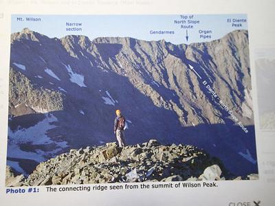 14ers.com Traverse description - one mile between the peaks: http://www.14ers.com/routemain.php?route=mwil5&peak=Mt.+Wilson%2C+Wilson+Peak%2C+and+El+Diente+Peak