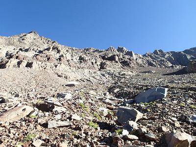 Heading up to the ridge now. .. 14ers.com route here: http://www.14ers.com/routemain.php?route=eldi4&peak=Mt.+Wilson%2C+Wilson+Peak%2C+and+El+Diente+Peak