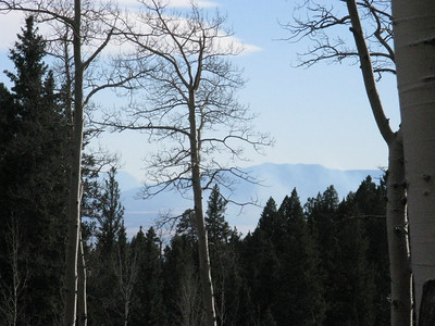 Telephoto of mountains to the south - Spanish Peaks on left.