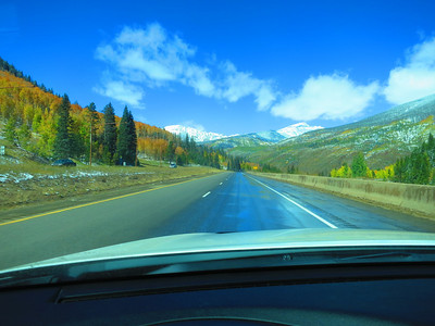 Mid-day Sat on I-70; the Continental Divide was topped with snow ...