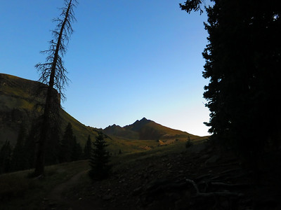 I set off in the dark at 5:20 am. ..The first big peak to come into view on the Matterhorn Crk Trail is Matterhorn Pk.