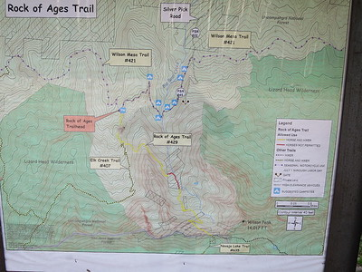 Enlarge this for better viewing. .. We'll be taking the Rock of Ages trail (yellow line) to the ROA saddle.