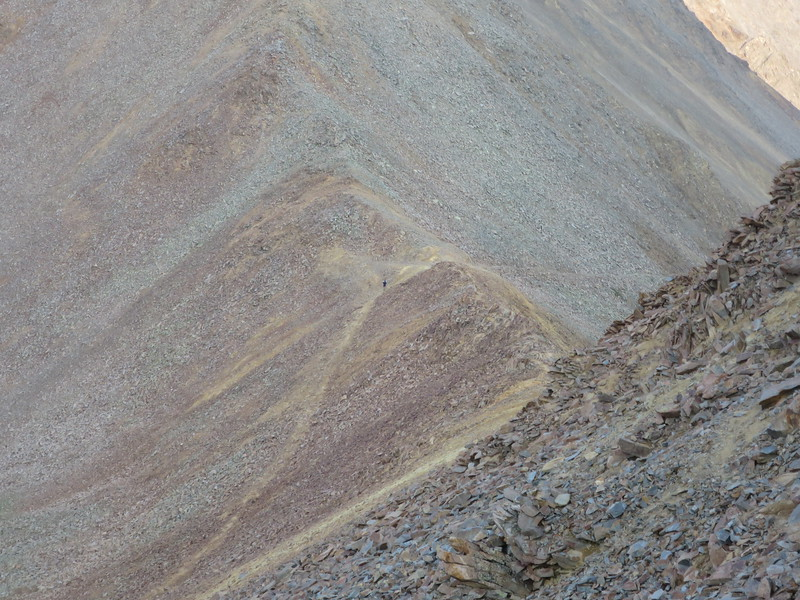 Telephoto - someone following, however he headed down into the Navaho Basin.
