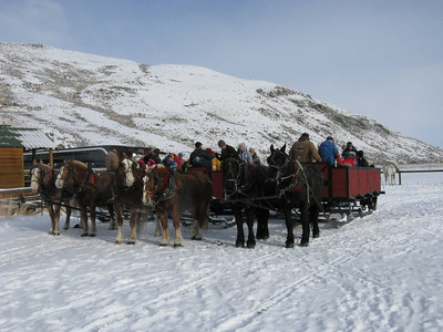Outside Jackson, loading up the sleighs for our ride through the Elk Preserve.