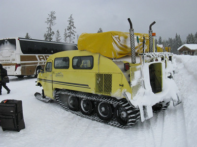 Time to relocate our luggage and ourselves to the snow coaches, as the roads in Yellowstone are not cleared in winter.