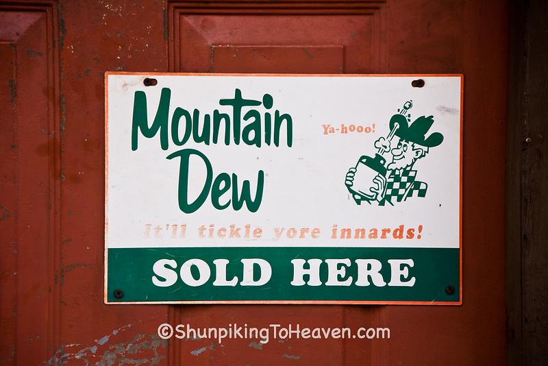 Advertising for Mountain Dew on Door of General Store, Piatt County, Illinois