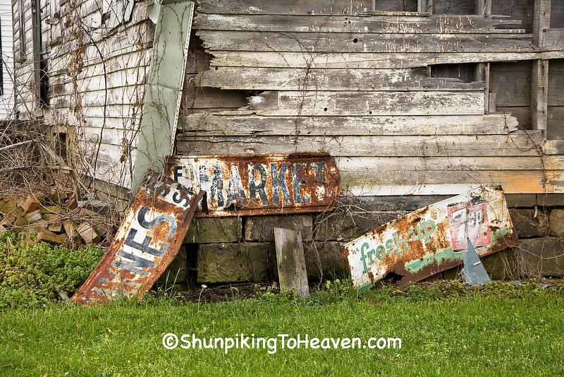 Close-up of Rusty Advertising Signs at Old General Store, Scioto County, Ohio