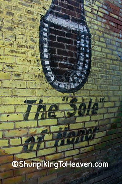 Uncovered Selz Royal Blue Shoe Mural, Kahoka Missouri