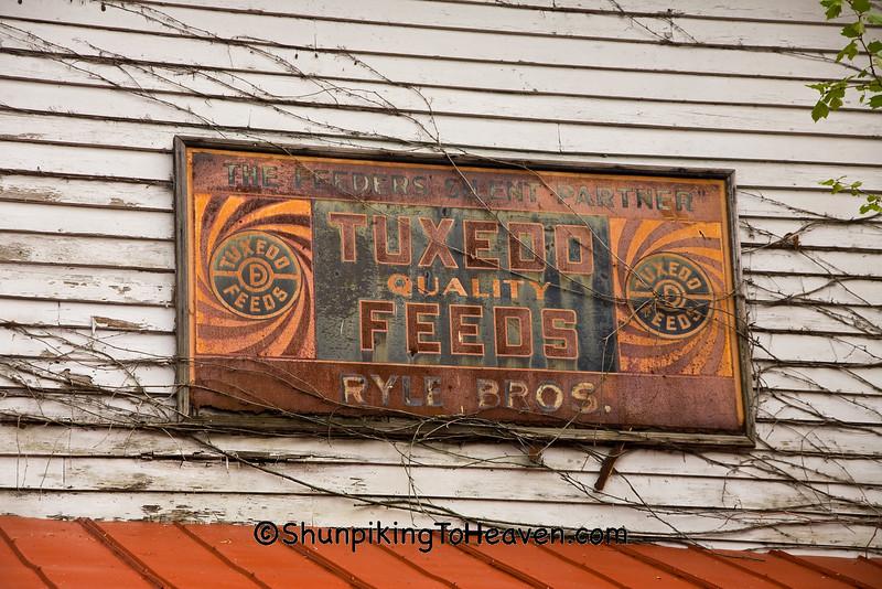 Rusty Tuxedo Feeds Sign, Rabbit Hash, Boone County, Kentucky