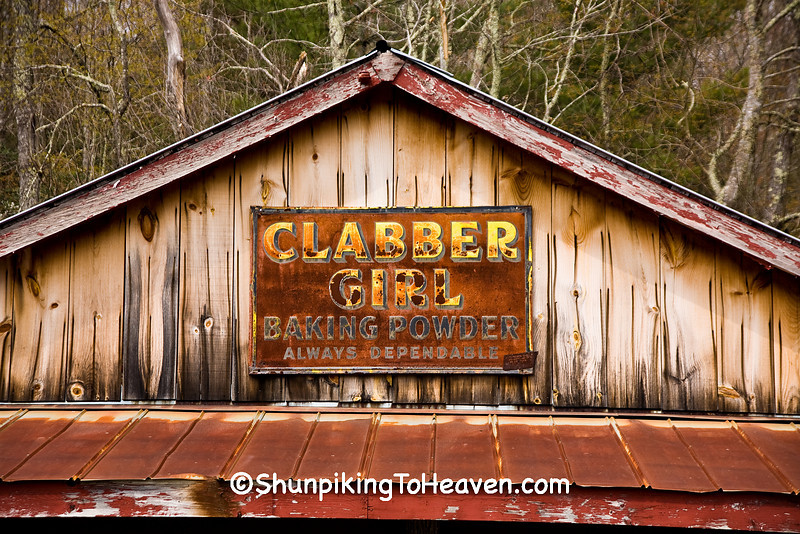 Clabber Girl Baking Powder Sign at Old Hampton Grist Mill, Avery County, North Carolina