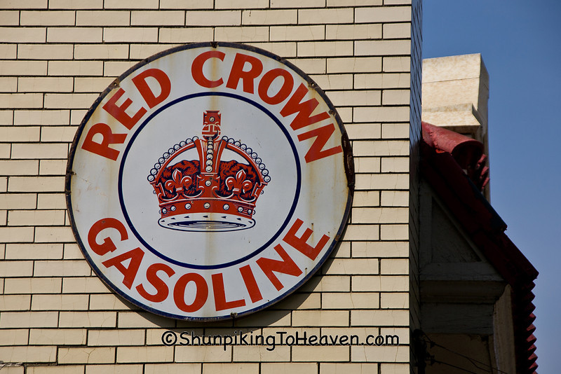 Antique Red Crown Gasoline Sign, Tippecanoe County, Indiana