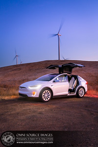 Tesla Model X Wind Turbine Twilight - by Greg Linhares