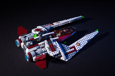 Jedi Scout Fighter. Built this with my eight year old daughter and photographed it in our livingroom with two studio lights.