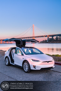 Tesla Model X Bay Bridge Sunset by Greg Linhares
