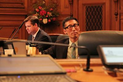 Left to right, Supervisors Mark Farrell, Eric Mar.