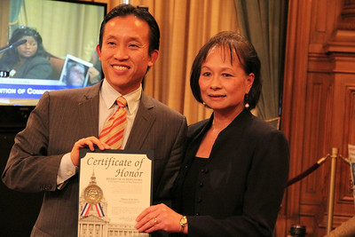 Supervisor David Chiu honors Nancy Lim-Yee.