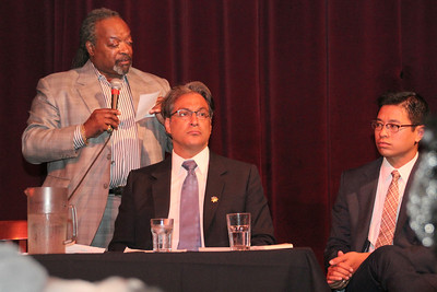 Left to right, Black Leadership Forum President Cedric Jackson, Sheriff Ross Mirkarimi, Public Defender's Office Attorney Vilaska Nguyen.