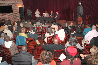 On stage, left to right,  Chief Adult Probation Officer Wendy Stills, Black Leadership Forum President Cedric Jackson, Sheriff Ross Mirkarimi, Public Defender Attorney Vilaska Nguyen, Black Leadership Forum PAC Chair Jo Elias Jackson (standing to the right).