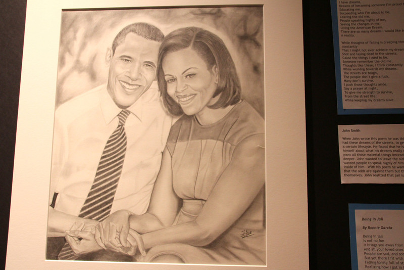 Michelle and Obama by Titus Francisco, Los Angeles County Jail.