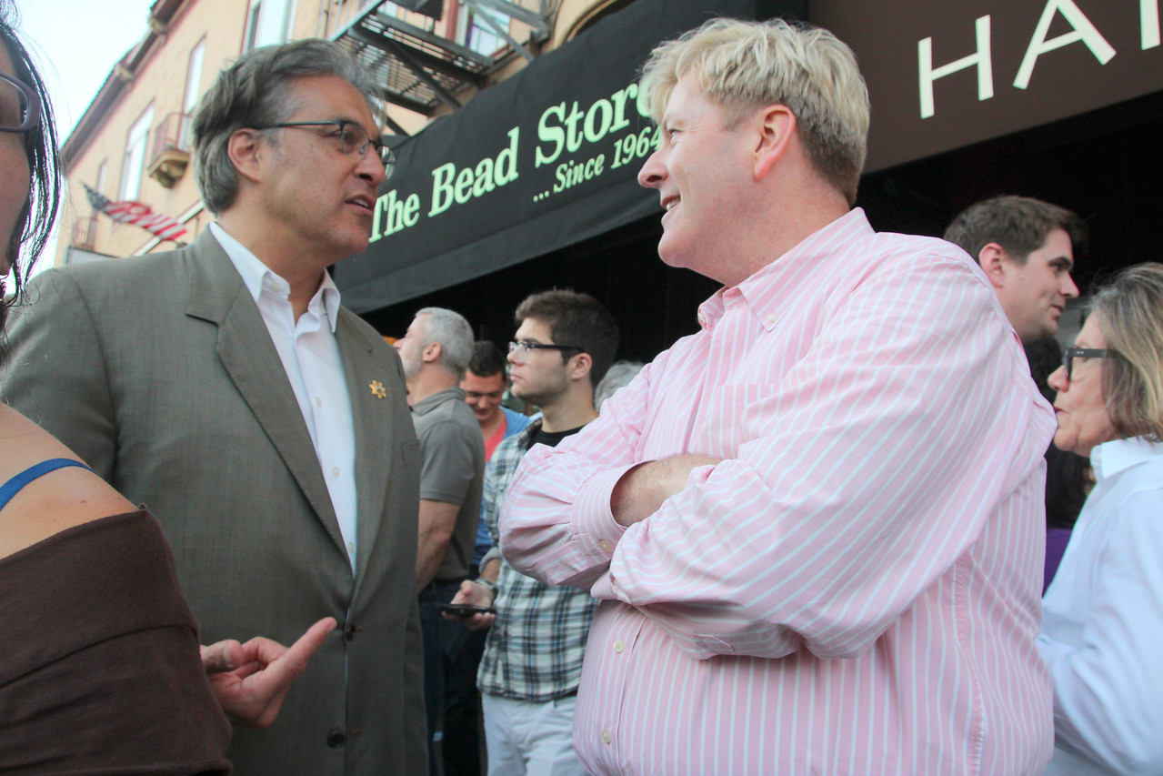 Left, San Francisco Sheriff Ross Mirkarimi, engages in a conversation.