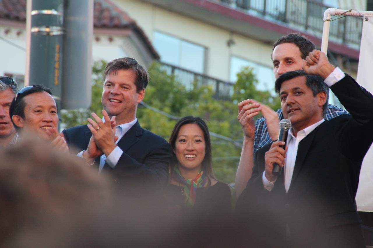 Left to right, Supervisors David Chiu, Mark Farrell, Katy Tang, Scott Wiener and City Treasurer Jose Cisneros.