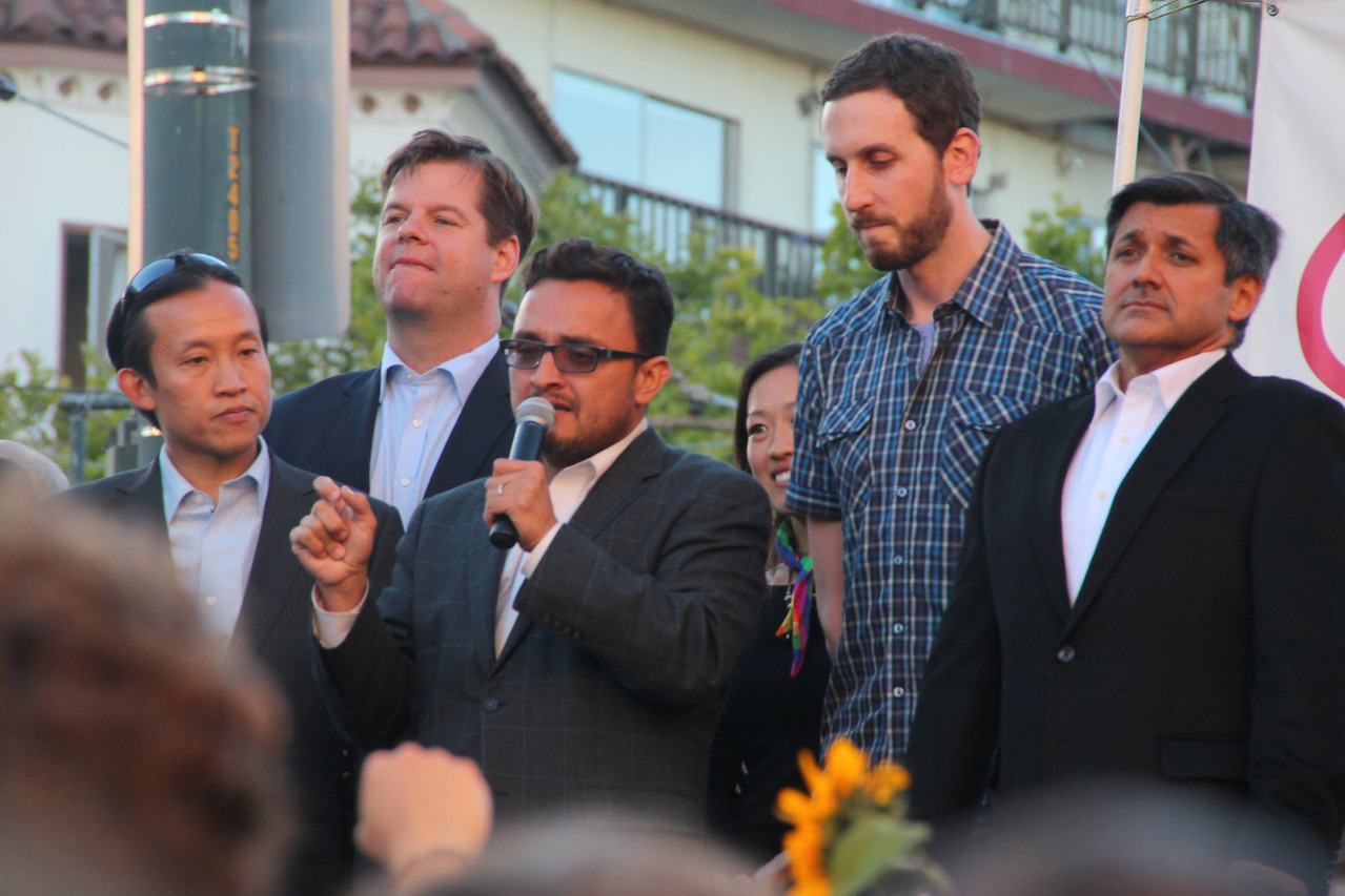 Left to right, Supervisors David Chiu, Mark Farrell, David Campos, Katy Tang, Scott Wiener and City Treasurer Jose Cisneros.