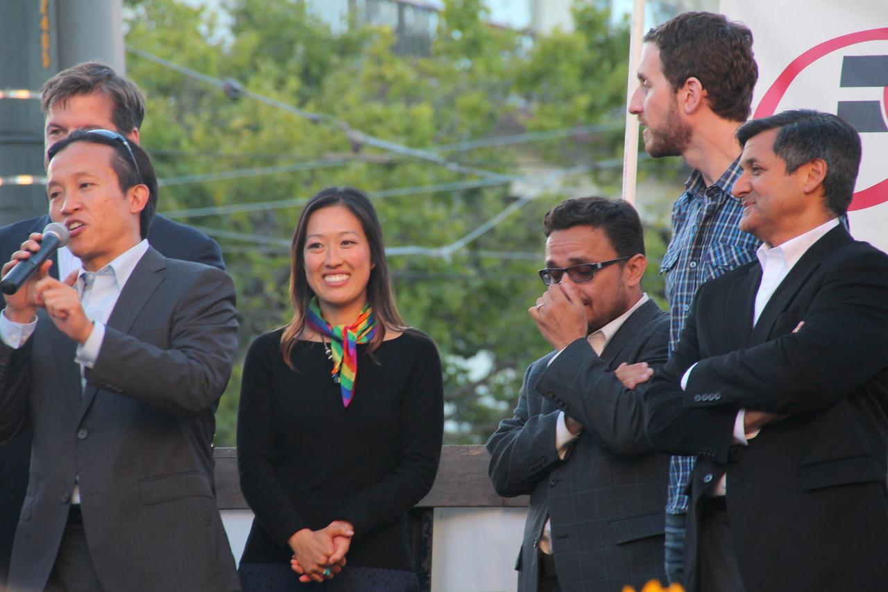 Left to right, Supervisors Mark Farrell, David Chiu, Katy Tang,   David Campos, Scott Wiener and City Treasurer Jose Cisneros.