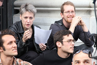 Upper left, Lierre Keith, one of the speakers at the rally.  To learn more, see: http://deepgreenresistance.org/