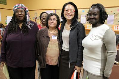Left to right: Elaine 'Mother' Jones, Tenant Organizer. Ann Ameling, City of Refuge United Church of Christ Pastor. Jane Kim, District 6 Supervisor. LaTonya Jones, Tenant Organizer.