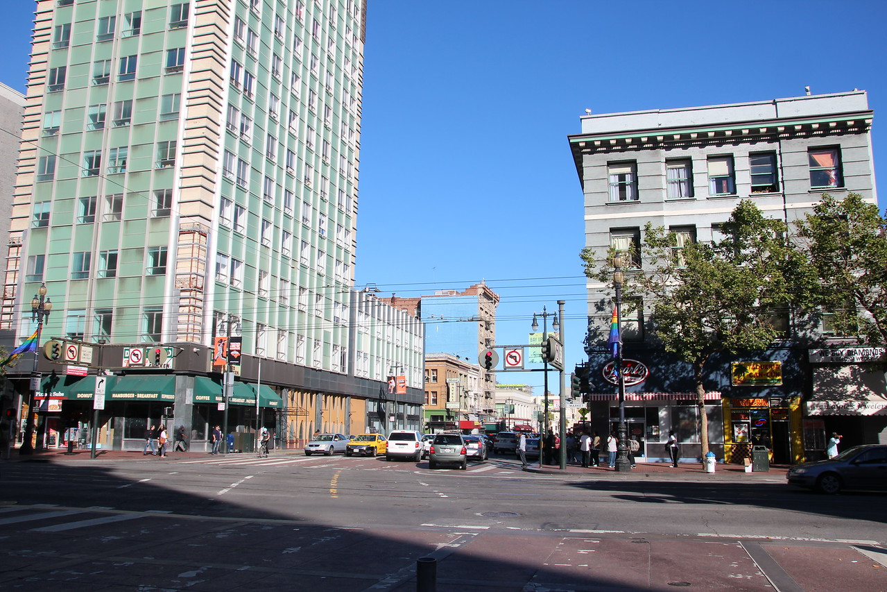 Looking north up to Nob Hill from the Market Street and Sixth Street intersection - one of the most dangerous intersections in California.  This deadly crossroads suffers one of the highest injury and fatality rates from pedestrian – car collisions.