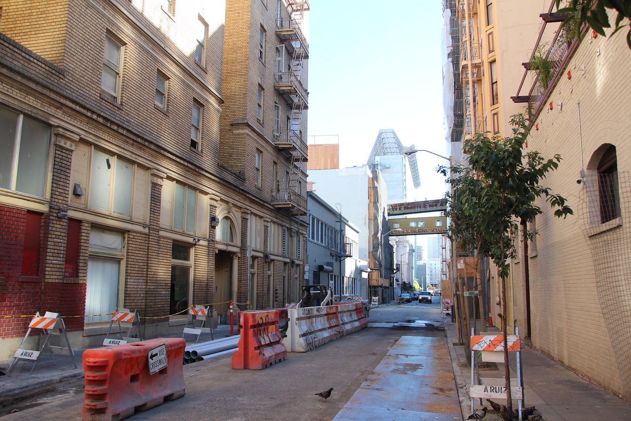 An alley off of Sixth Street, about a block and a half South of Market Street.