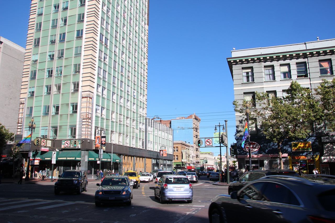 The Sixth intersection with Market Street - one of the most dangerous intersections in California.  This deadly crossroads suffers one of the highest injury and fatality rates from pedestrian – car collisions.