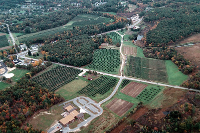 """The white dot in the center of the triangular field at the top center of this image is the gazebo and the peak of """"Moose Hill"""" the landmark and the orchard."""