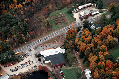 See the pumpkins lined up out front, bright orange and ready to carve into a Jack-o-lantern.  To the right of the diaganal line of pumpkins stored in 900 pound bins are the scarecrows in the 2005 scarecrow contest.  Should you order a large photo of this image you will be able to see them.