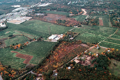 The wetland near the top of the image, Duck Marsh, borders a 19 acre portion of the orchard that looks dark green in this image, those apple trees are located on Gilcreast Road across from Cortland Street.  The entire farm covers approximately 264 acres.  The box store in the upper left is the Home Depot, to the center of left is the Apple Tree Mall where the Shaw's is located.  On the far left near the top is the Park and Ride center including a bus terminal at Exit 4.