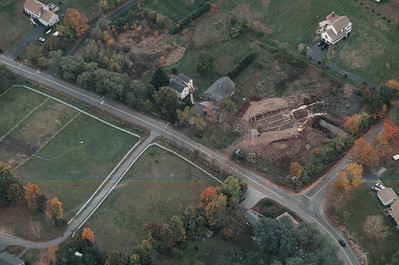Nearby Sunnycrest Farm we flew over the intersection of High Range and Wiley Hill Road.  If you look closely you can still see where the telephone pole was near the middle of the intersection in the early 1980's.  The barn at the center of the image has a tax abatement on it that encourages preservation.  Londonderry has 48 barns in the community.