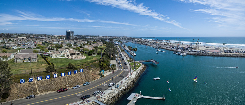 Aerial image of the Oceanside sign and harbor
