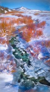 Near-frozen Logan River below Beaver Mountain